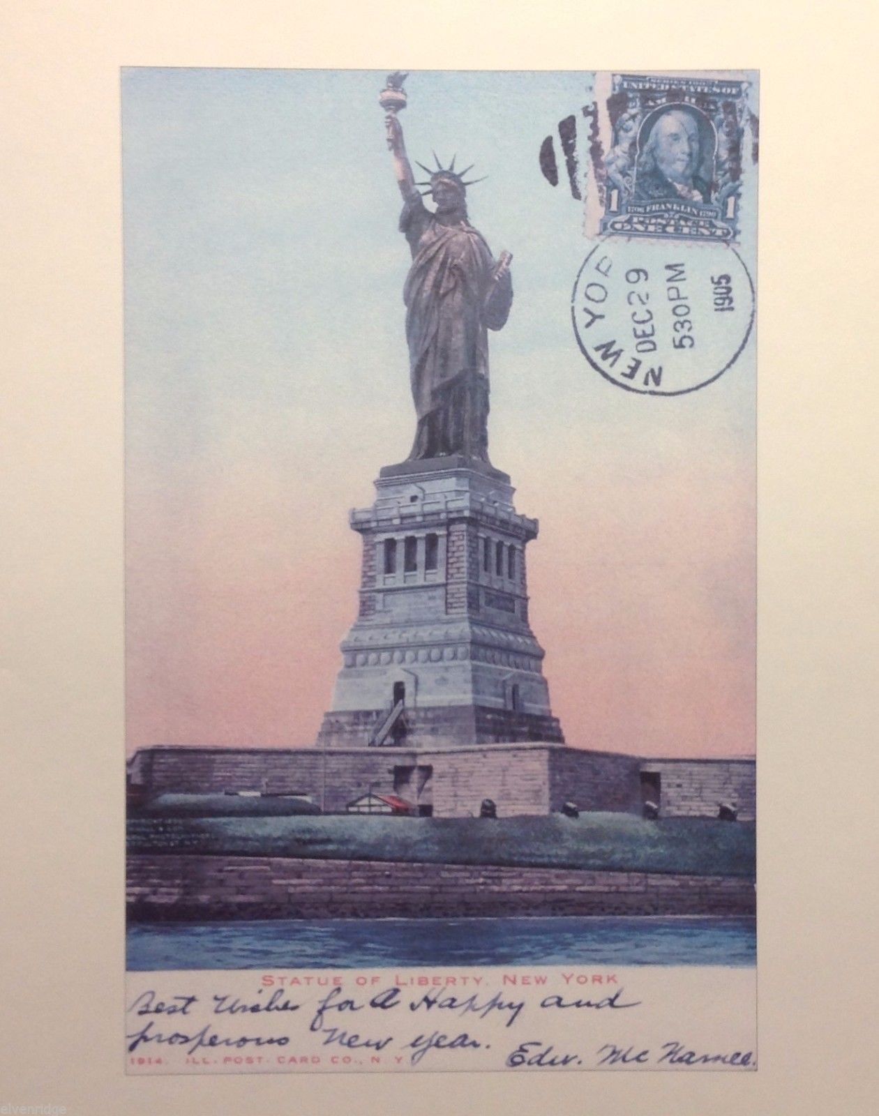 Vintage image New York City Postcard Statute of Liberty rare misprint poster