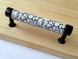 "3.75"" Drawer Pull Dresser Pulls Handles White Crackle Black Porcelain Pu... - $7.50"