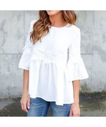 Flare Sleeve White Lace Chiffon Blouse 2018 Summer Women Ruffle Tops Kor... - $39.50