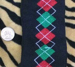 Funky Red Green BLACK GLITTER ARGYLE KNEE SOCKS Lolita Winter Holiday Ch... - $4.92