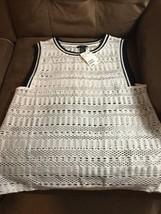 H & M White M Sleeveless White Overlay Top - $14.73
