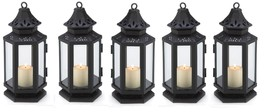 "Black Stagecoach Candle Lantern 8"" tall (Case of 10) Wedding Supplies 13361 - $66.00"