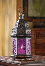 "Dark Pink Glass Moroccan Candle Lantern 10 1/4"" tall Wedding Supplies 15221 - $20.00"