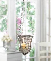 Ornate Hanging Silver Filigree Candle Lantern 4... - $28.00