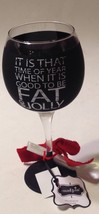 Mud Pie Chalkboard Wine Glass Fat & Jolly Black Christmas Holiday - $19.78
