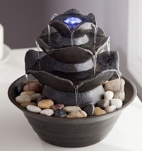 "Lotus Four-Tier LED lighted Indoor Tabletop Water Fountain 9 1/4"" 10016930 - $44.00"