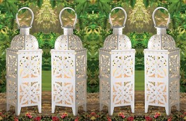 "Giant White Medallion Candle Lantern 25"" Tall (Set of 4) Wedding Supplie... - $110.00"