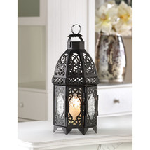 "Black Exotic Wedding Lattice Candle Lantern 12""tall Outdoor Event Suppli... - $24.00"
