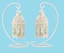 White Ornate Lattice Hanging Candle Lantern (Case of Six) Wedding Supply... - $65.00