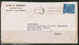 COLOMBIA Scott # 380 COMMERCIAL COVER to N.Y. USA---(Feb. 9 1925)--- (OS... - $9.85