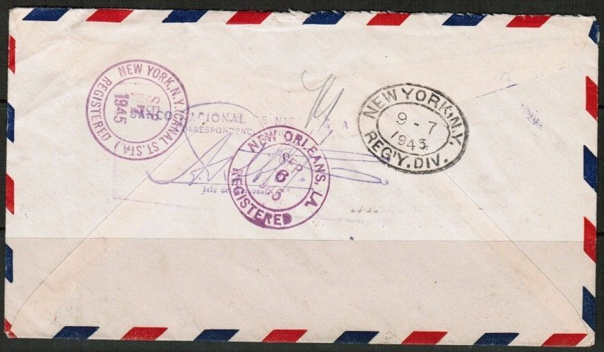 NICARAGUA Scott # C 247 REGISTERED & CERTIFIED COVER to N.Y. USA-1945 (OS-166)