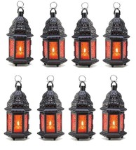 "Eight Amber Moroccan Wedding Candle Lanterns 10 1/4"" Event Supplies D1058 - $55.00"