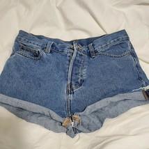 Ladies Denim Shorts Cut Off  Rolled Cuff 5 Pockets Button Fly Medium Siz... - $24.75
