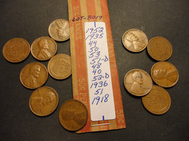 WHEAT CENT LOT B017  >>>>> SEE PICTURE FOR DATES - $1.24