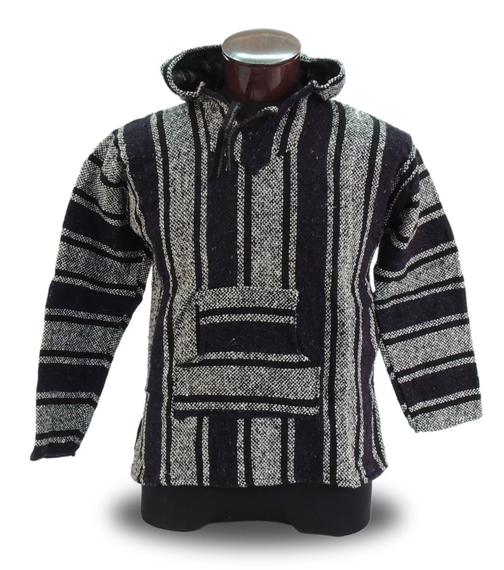 Black Baja Hoodie Mexico Drug Rug 100% Recycled Fibers