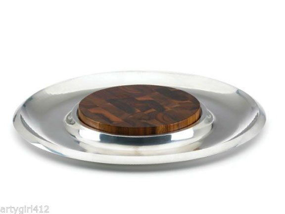 115.00 Dansk Classic Fjord Cheese Server Round Metal Tray Set NEW - $64.95