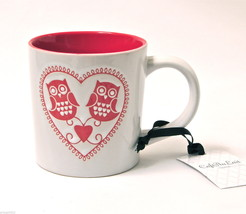 Owl Couple w/ Heart OWL MUG Coffee Tea  Red & White Valentines NWT - $9.95