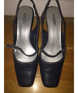 East 5th JCP NAVY BLUE Square Toe Sling back Pumps heels Sz 7 - $7.69