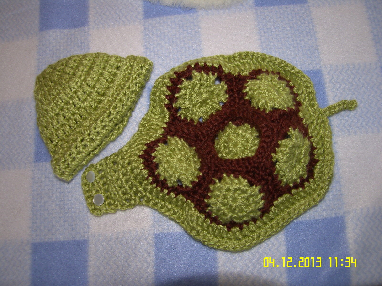 Crochet Baby Turtle Hat And Shell Pattern Free : HAND CROCHET~~ GREEN BABY TURTLE HAT & SHELL SIZE 3 to 6 ...