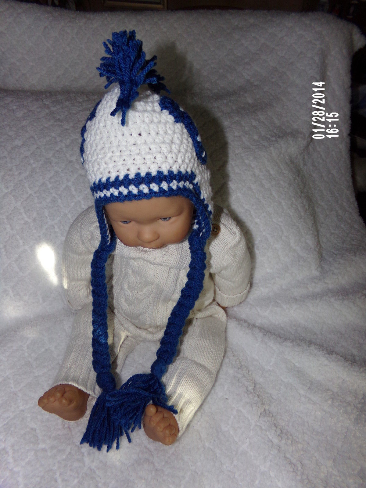 Crochet Hair Indianapolis : INDIANAPOLIS COLTS MOHAWK HAT w/ BRAIDS~~SIZE 3 - 6 MONTHS~~HAND ...