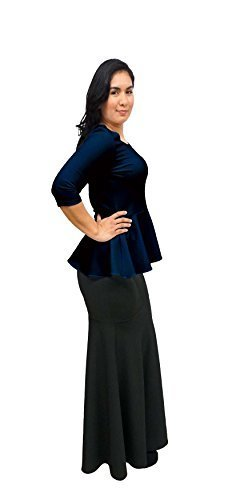 DBG Women's Navy Blue Peplum 3/4 Sleeves Blouse (3XL, Navy Blue)