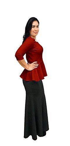 DBG Women's Red Peplum 3/4 Sleeves Blouse (2XL, Red)