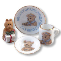 Miniature Corner Dollhouse Miniatures Teddy Abc Breakfast Set #MC16535 - $14.50