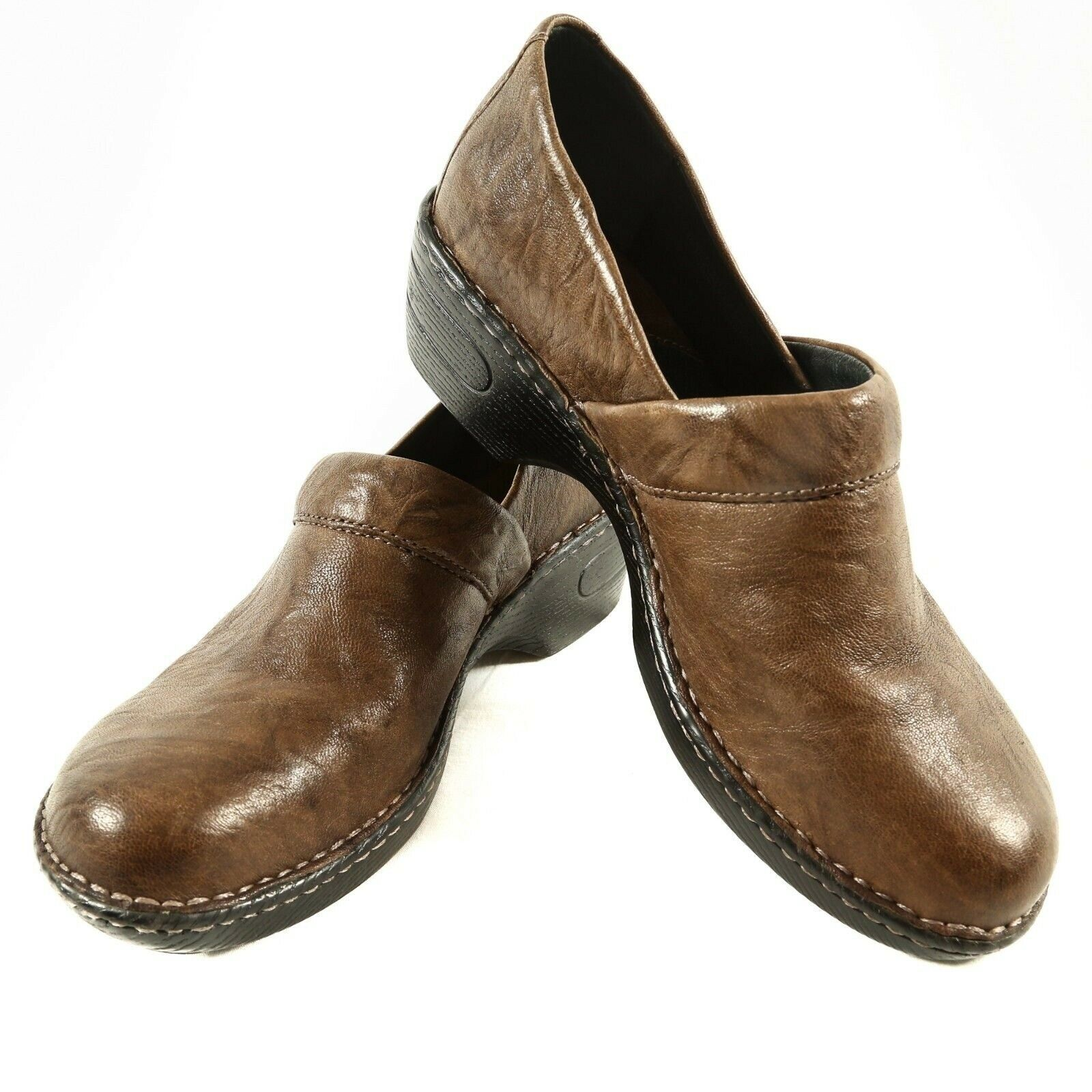 Born Brown Leather Clogs Professional Comfort Slip On Shoes Womens 43 US 11 - $34.49