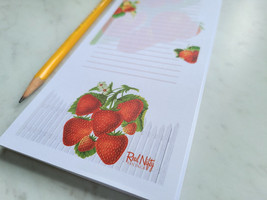 Strawberry Notepad with Magnet, 50 Sheets, Vintage Inspired Strawberries Pad image 1