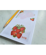Strawberry Notepad with Magnet, 50 Sheets, Vintage Inspired Strawberries... - $5.99