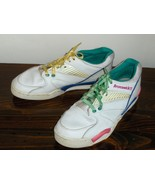 Brunswick Womens Bowling Shoes White Leather Size 8 Colorful Detail 58-1... - $24.00