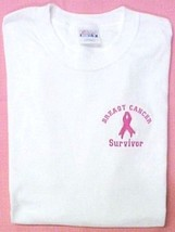 Breast Cancer Survivor T Shirt M Pink Ribbon Awareness White Long Sleeve... - $22.51