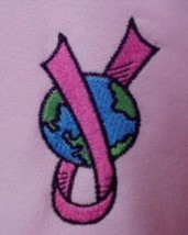 Breast Cancer Upside Down World LG Pink Sweatshirt Hoodie Unisex New - $31.65