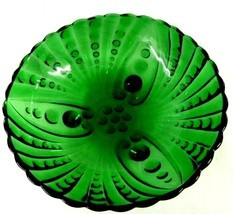 Burple Green Footed Scallop Anchor Hocking Glass Fruit Serving Bowl Vintage - $48.97
