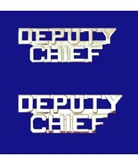 Deputy Chief Collar Pin Set Cut Out Letters Nickel Plate Fire Dept Polic... - $15.49