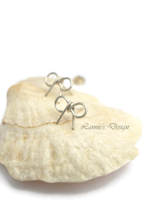 Sterling Silver Bow Stud Earrings, Ribbon Studs