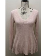 Zara Knit Cable Women Sweater V-Neck Sz Small Feels Cotton Light Coral - $37.04