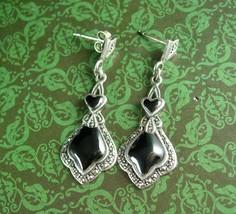 Victorian Style Earrings Sterling Silver Dangle Heart Drops black enamel  Pierce - $80.00