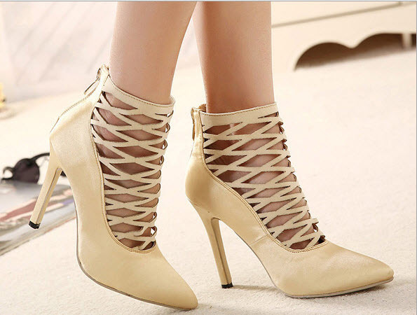 Primary image for PP041 sexy caged satin pumps/heels, size 35-40,  apricot