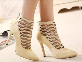 PP041 sexy caged satin pumps/heels, size 35-40,  apricot - $48.80