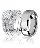 4 Pcs His Tungsten Her Sterling Silver 2.51Ct Wedding Engagement Rings Band Set - $68.95