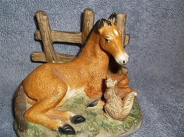 Homco porcelain horse w/squirrel figurine - $14.84