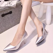 PP031 sexy elegant sharp headed pumps, kitten heels, size 34-39,  silver - $48.80