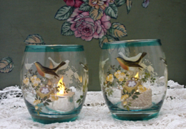 TII COLLECTIONS Bird & Flower Design Glass Votive/Tealight Candle Holders - $13.00