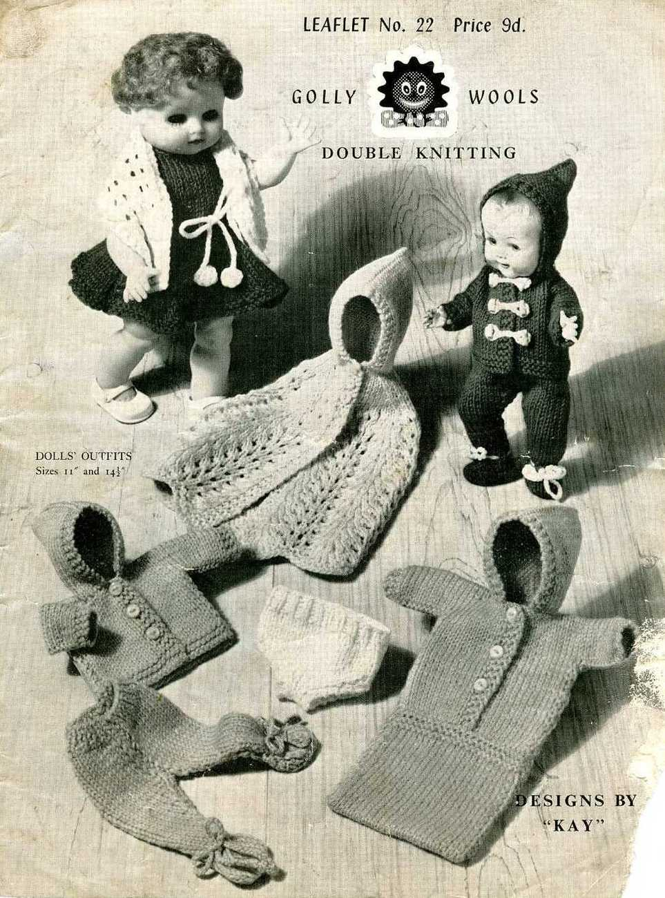 Primary image for Vintage knitting pattern for dolls outfits Golly 22 Dolls si