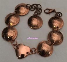 1931 Lucky Wheat Penny Heart Bracelet 85th Birthday Anniversary Valentine Gift - $38.60
