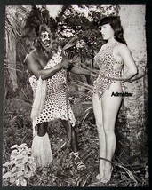 BETTIE PAGE PIN-UP ART POSTER TIED UP IN JUNGLE SUIT + TOPLESS NUDE PHOT... - $7.91