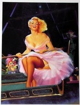 Edward Runci Pin Up Poster Sexy Blonde Riding Roller Coaster In Pink Dress Photo - $9.89