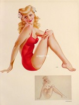 Vargas 1943 Pin-up Girls Blonde Hottie in Red 2-sided - $9.74