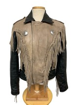 Vintage Interstate Leather Suede Fringe Moto Jacket Coat Thinsulate Small - $128.79
